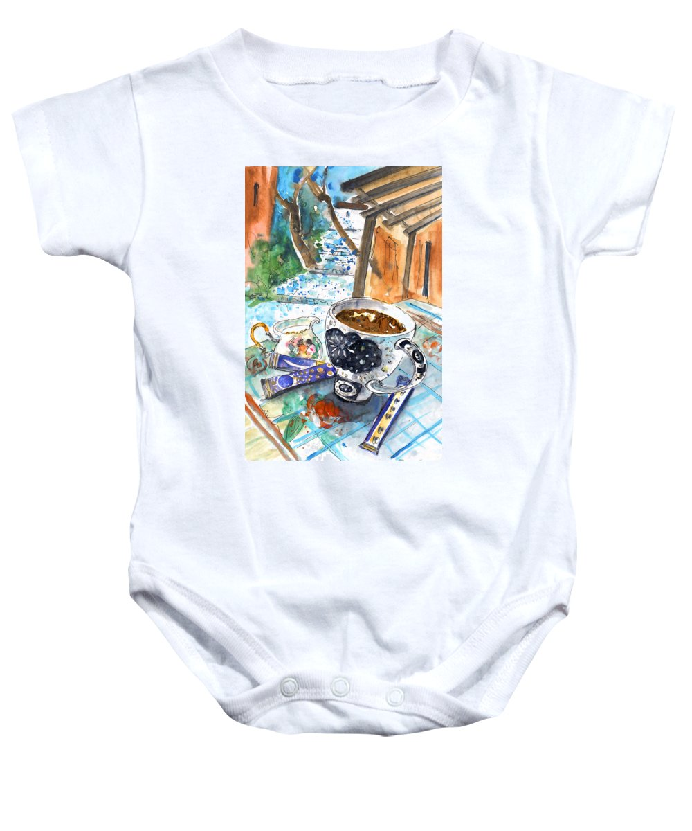 Travel Art Baby Onesie featuring the painting Coffee Break In Elos In Crete by Miki De Goodaboom