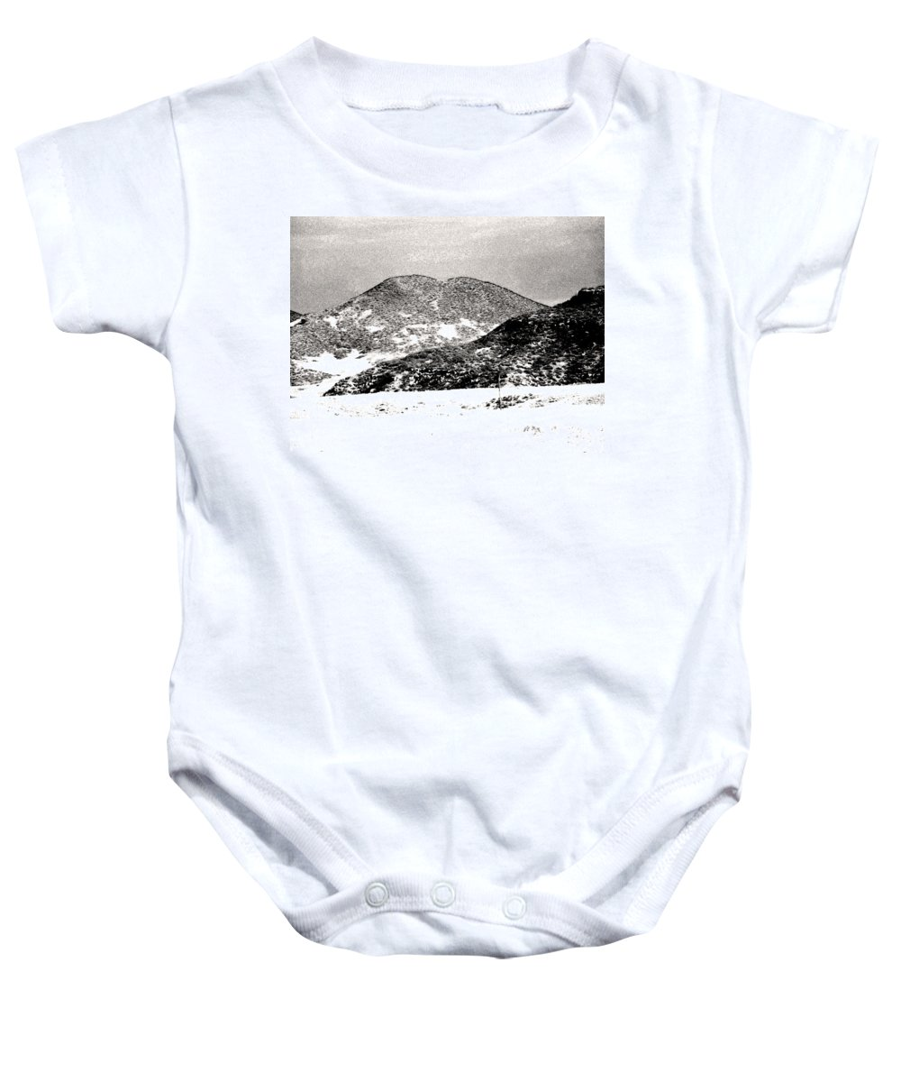Abstract Baby Onesie featuring the photograph Colorado 2 In Black And White by Lenore Senior