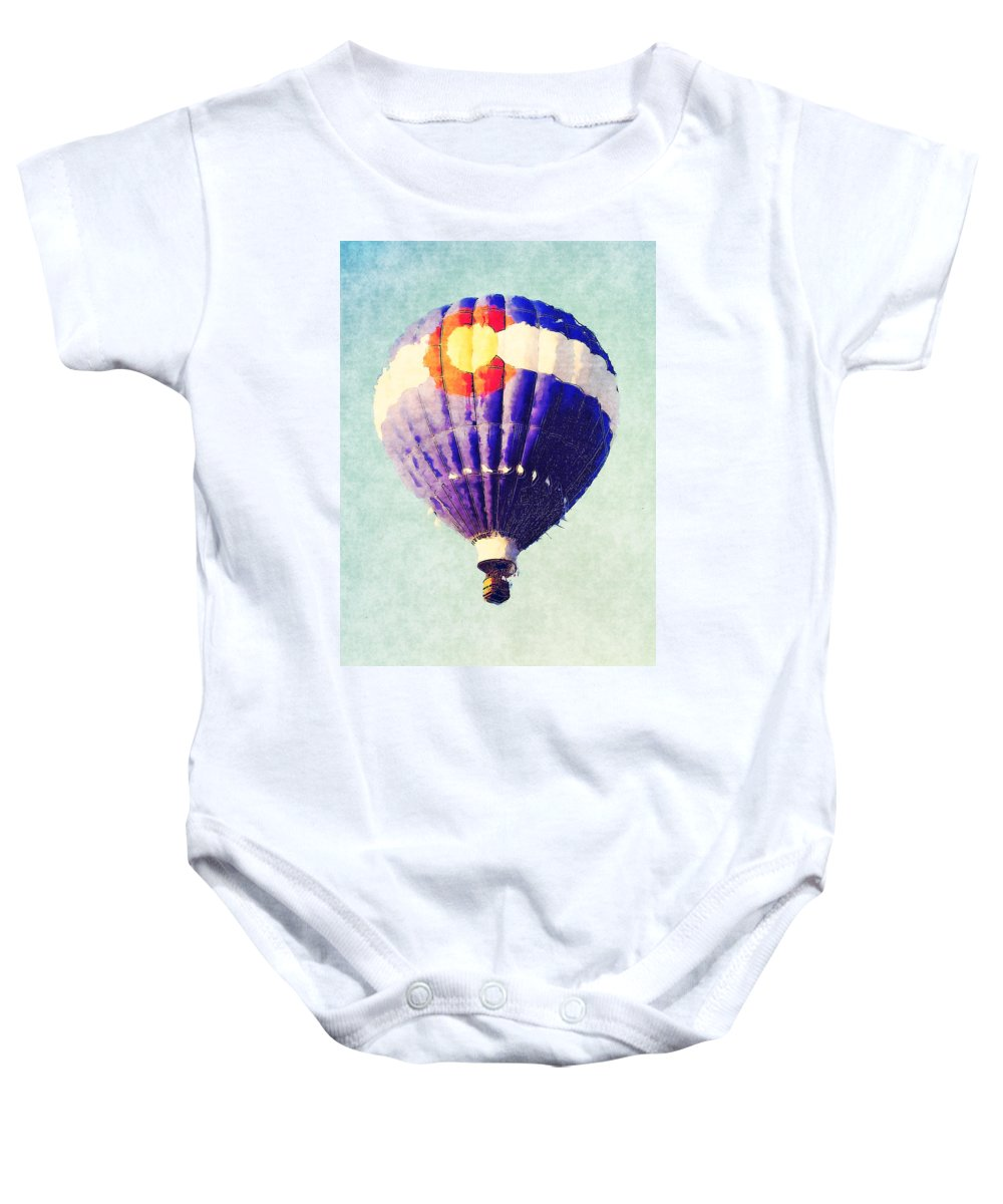Balloon Baby Onesie featuring the photograph Colorado Flag Hot Air Balloon by David G Paul