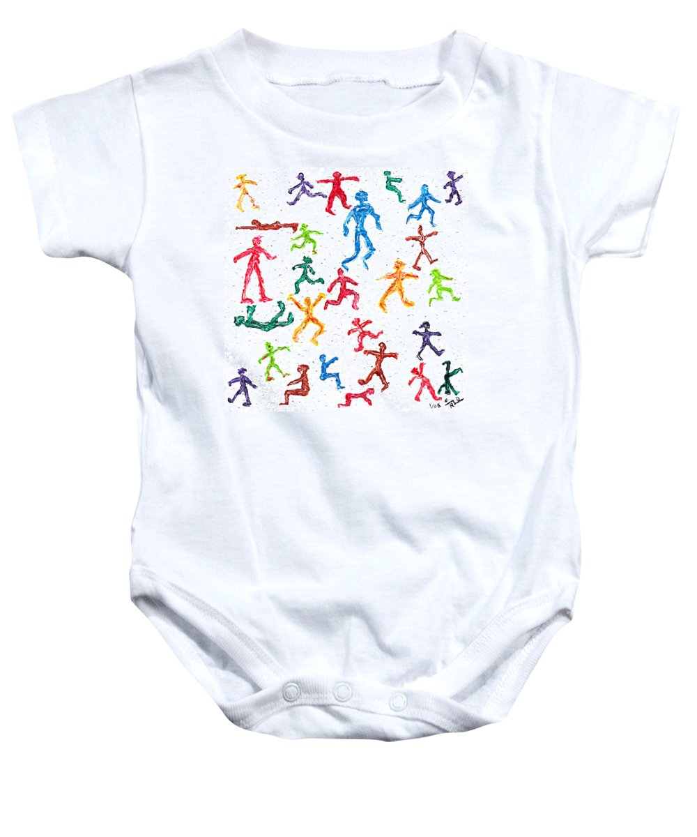 Abstract Baby Onesie featuring the painting Colorful Acrylic Stickmen Characters by Carl Deaville