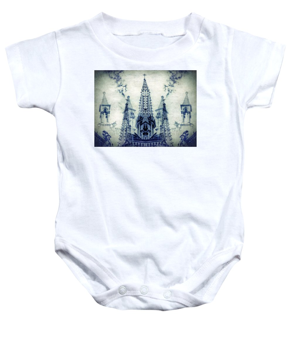 Collage Baby Onesie featuring the digital art Cordoba Church Argentina by Diane Dugas