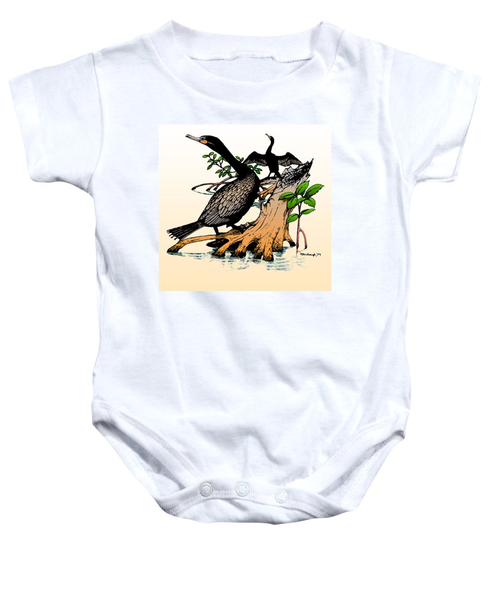 Duane Mccullough Baby Onesie featuring the drawing Cormorants On Mangrove Stumps Filtered by Duane McCullough