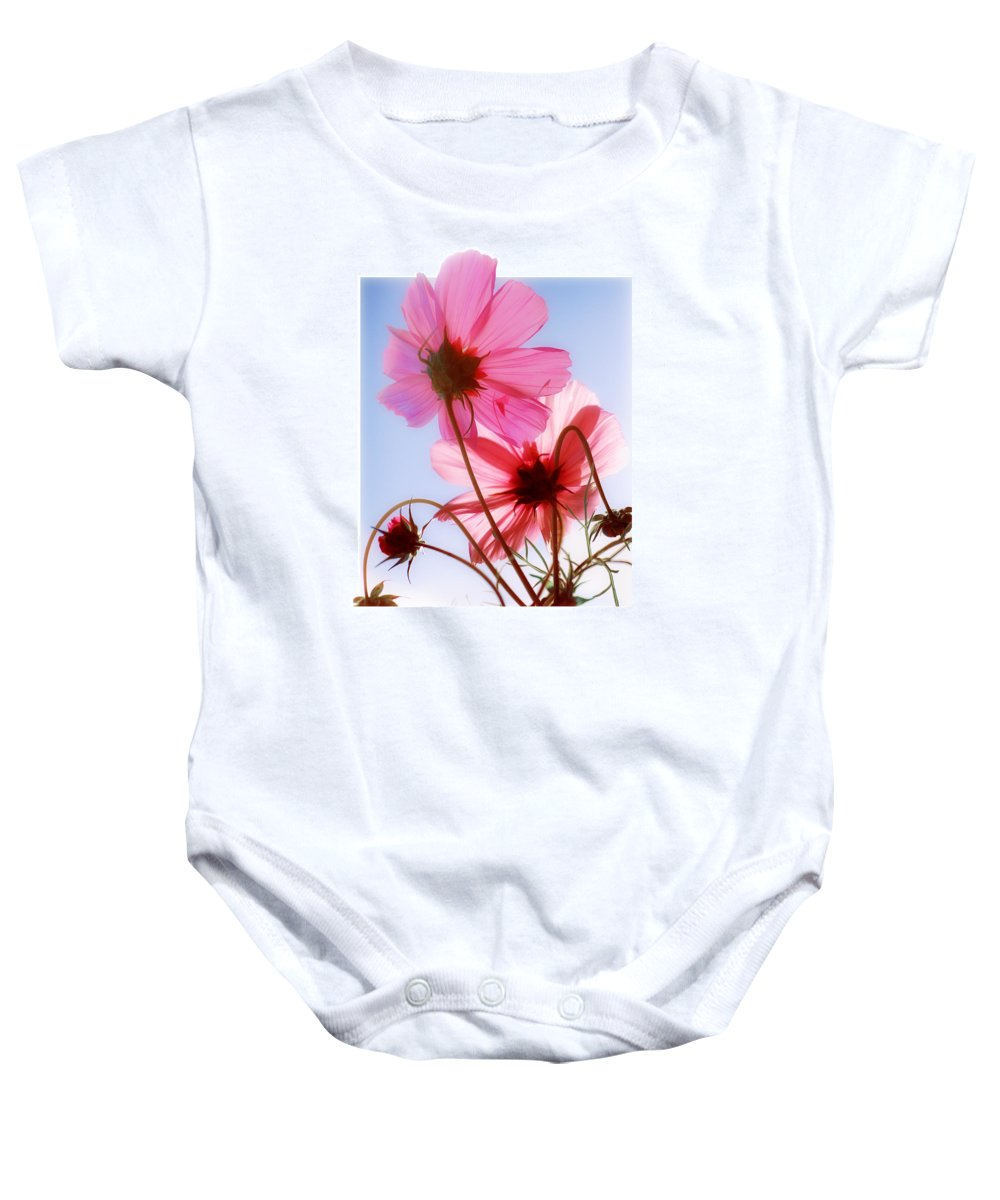 Cosmos Baby Onesie featuring the photograph Cosmos Flowers by Mal Bray
