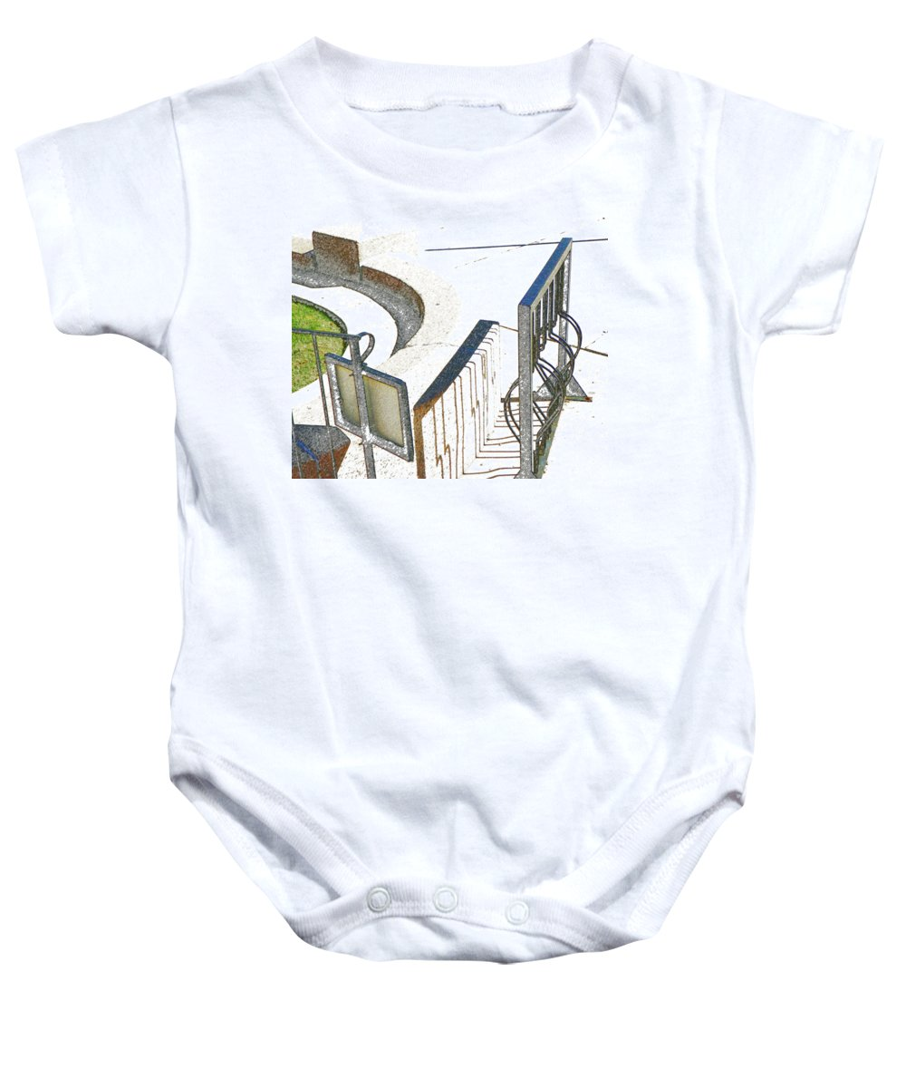 Abstract Baby Onesie featuring the photograph Courthouse Bicycle Rack by Lenore Senior