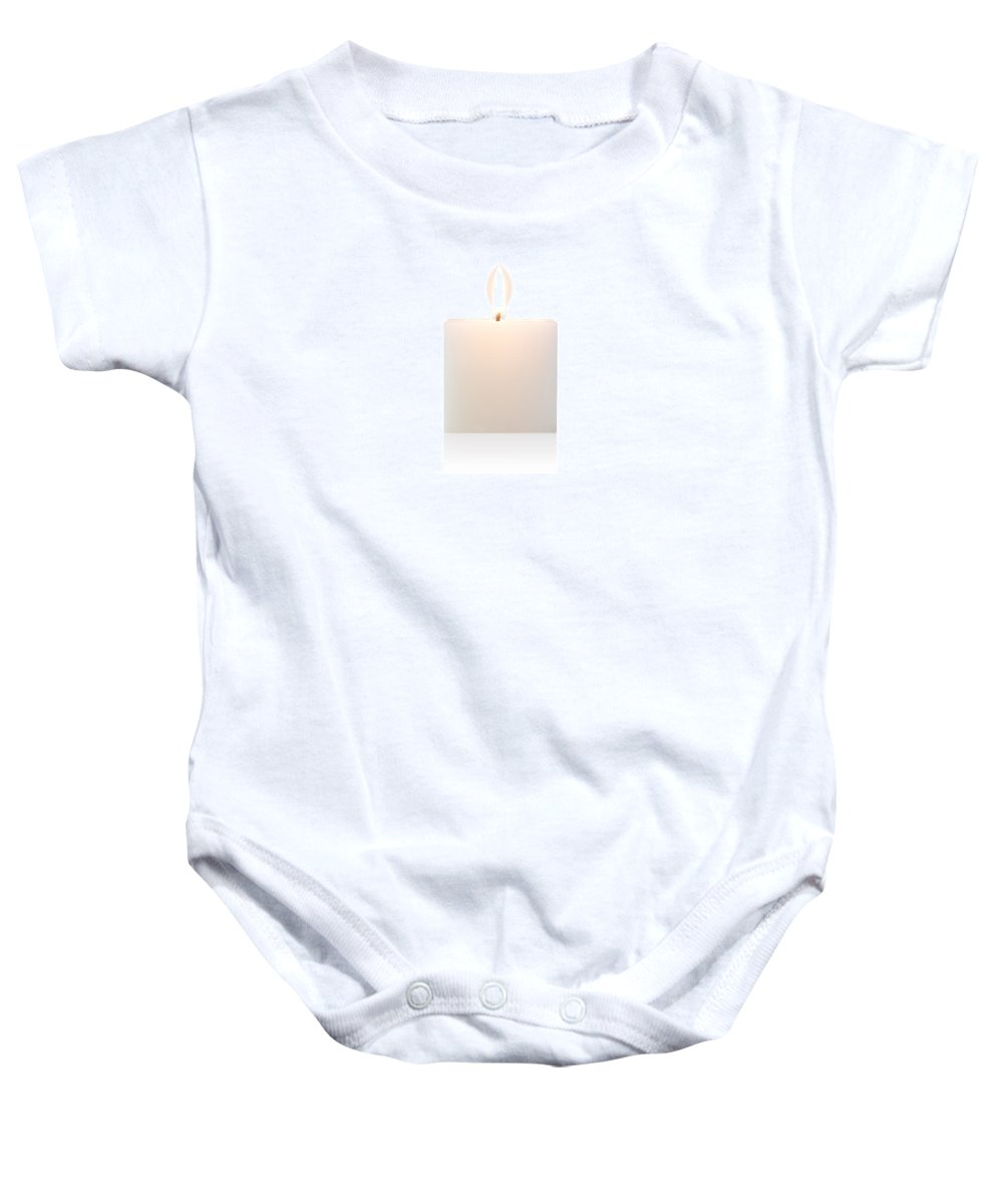 Candle Baby Onesie featuring the photograph Cubic Burning Candle by Atiketta Sangasaeng