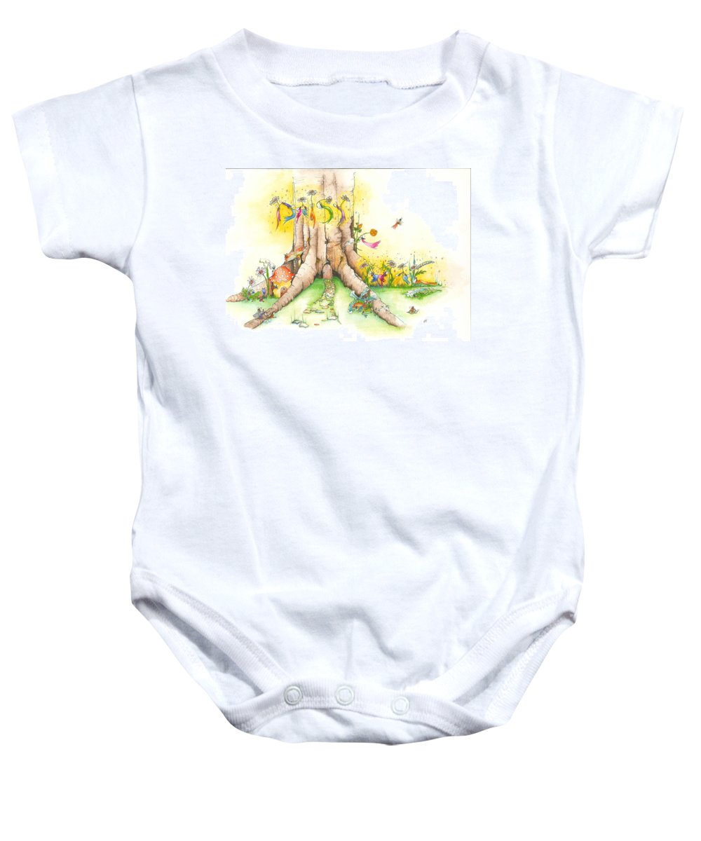Watercolour Baby Onesie featuring the painting Daisy Mae Fairy Illustration by Catt Kyriacou