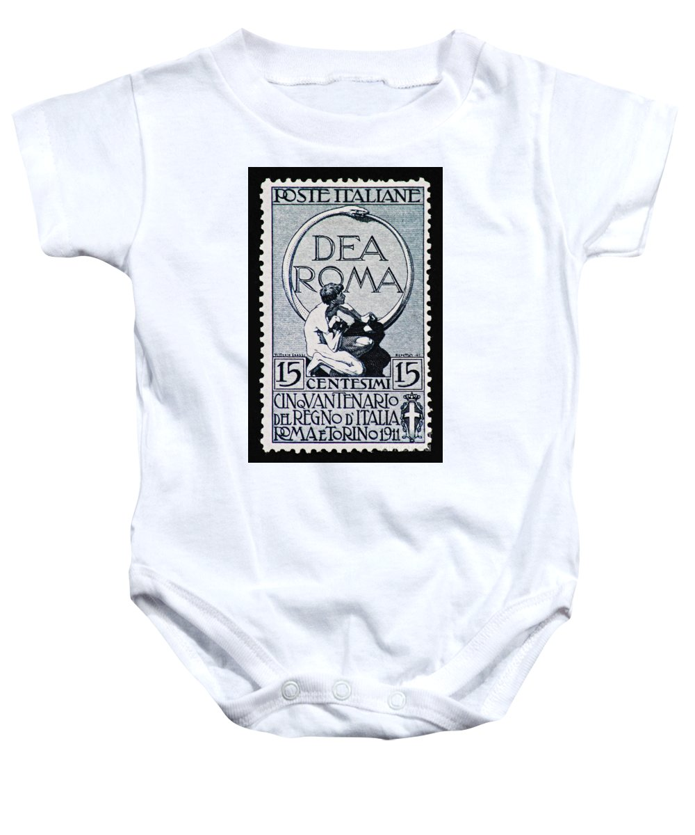 Postage Stamp Baby Onesie featuring the photograph Dea Roma by Andy Prendy