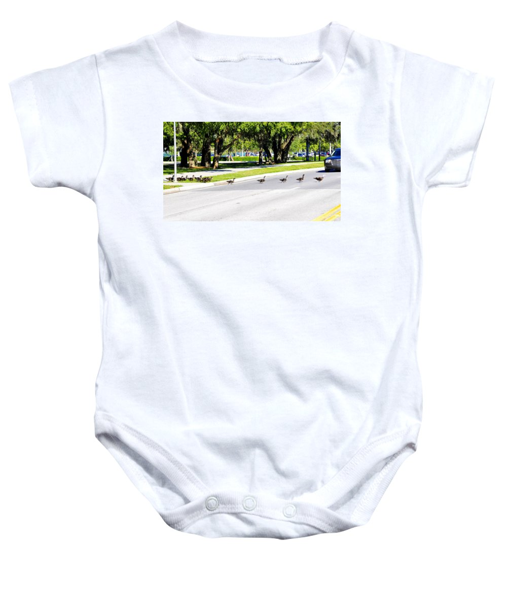 Fine Art Photography Baby Onesie featuring the photograph Duck Crossing by David Lee Thompson