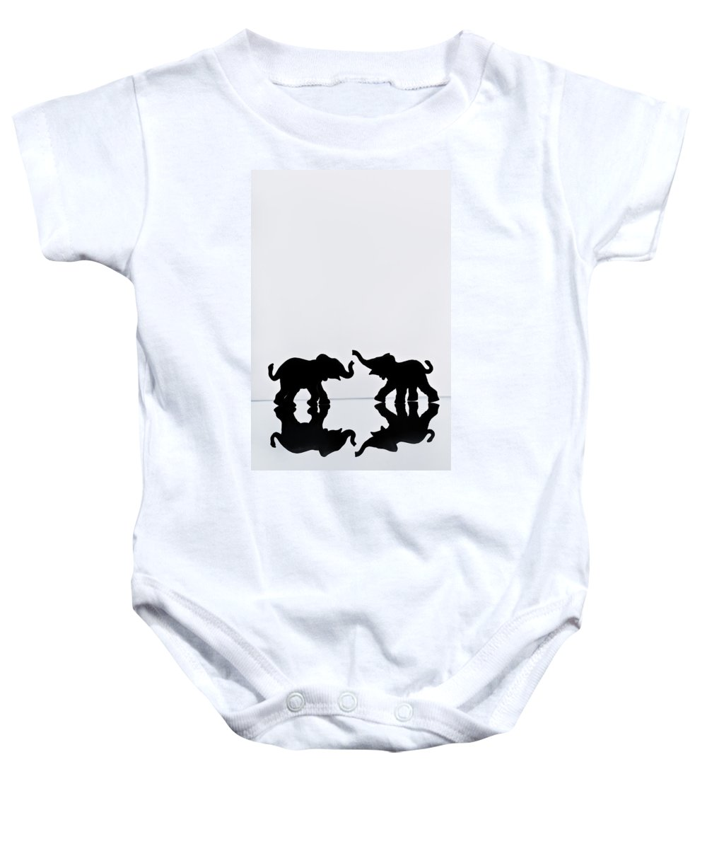 Animals Baby Onesie featuring the photograph Elephant Pair Reflection by Chris Knorr