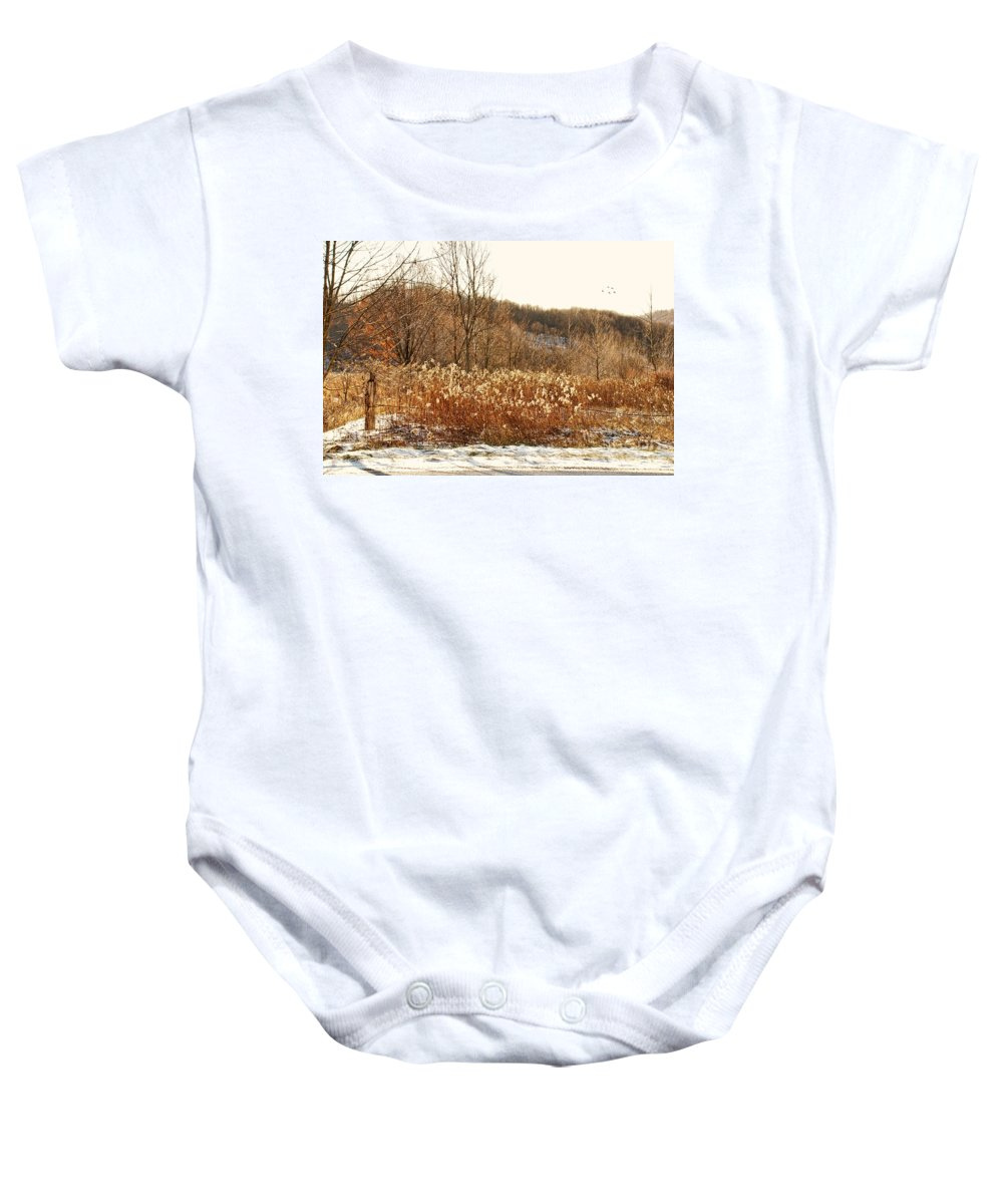 Field Baby Onesie featuring the photograph Even Now By The Gate by Lois Bryan