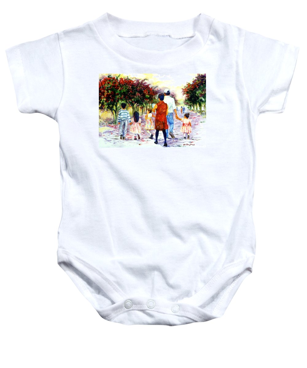 Mexico Paintings Baby Onesie featuring the painting Family Love Union Familiar by Estela Robles