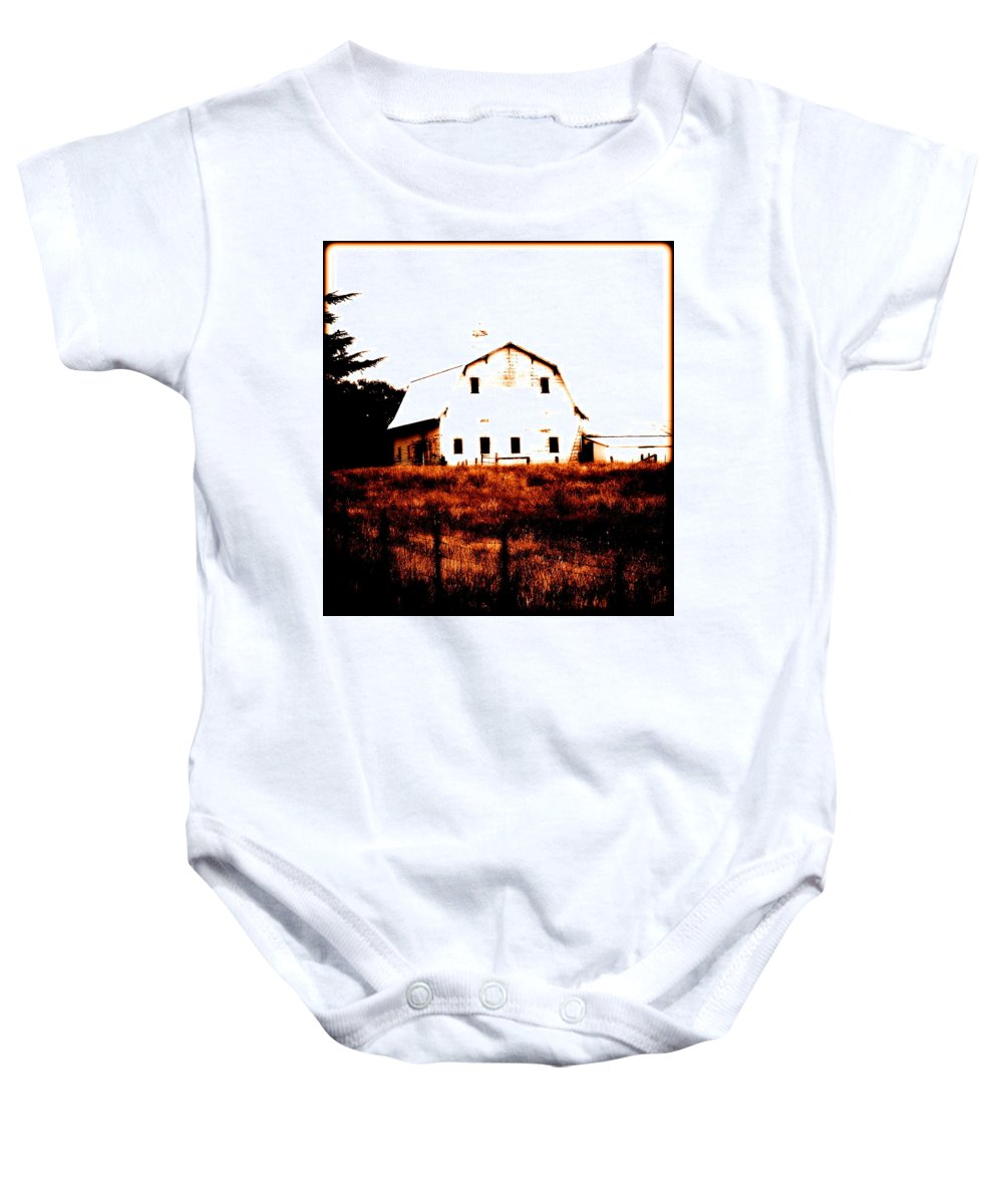 Barn Baby Onesie featuring the digital art Farm Used Up by Kathy Sampson