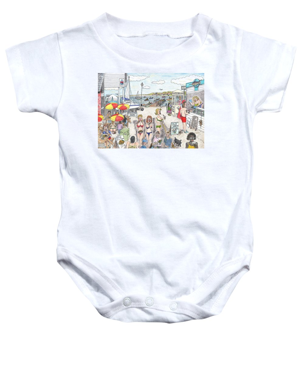 Ferry Baby Onesie featuring the drawing Ferry Naughtycal by Steve Royce Griffin