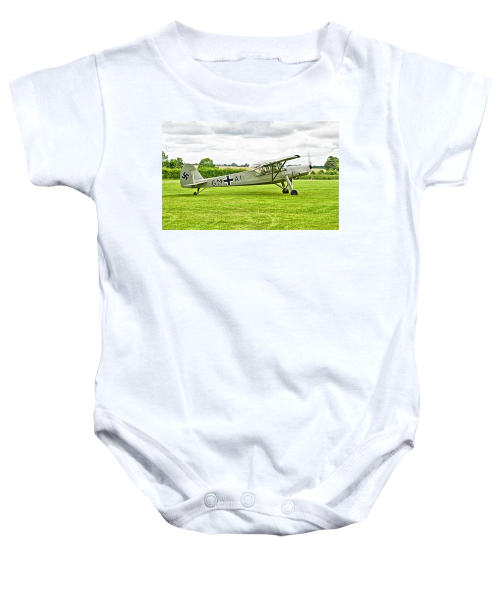 Fieseler Fi 156 Storch Baby Onesie featuring the photograph Fieseler Fi 156 Storch by Chris Thaxter