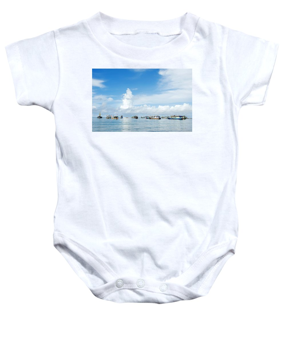 Bali Baby Onesie featuring the photograph Fishing Boat by Yew Kwang