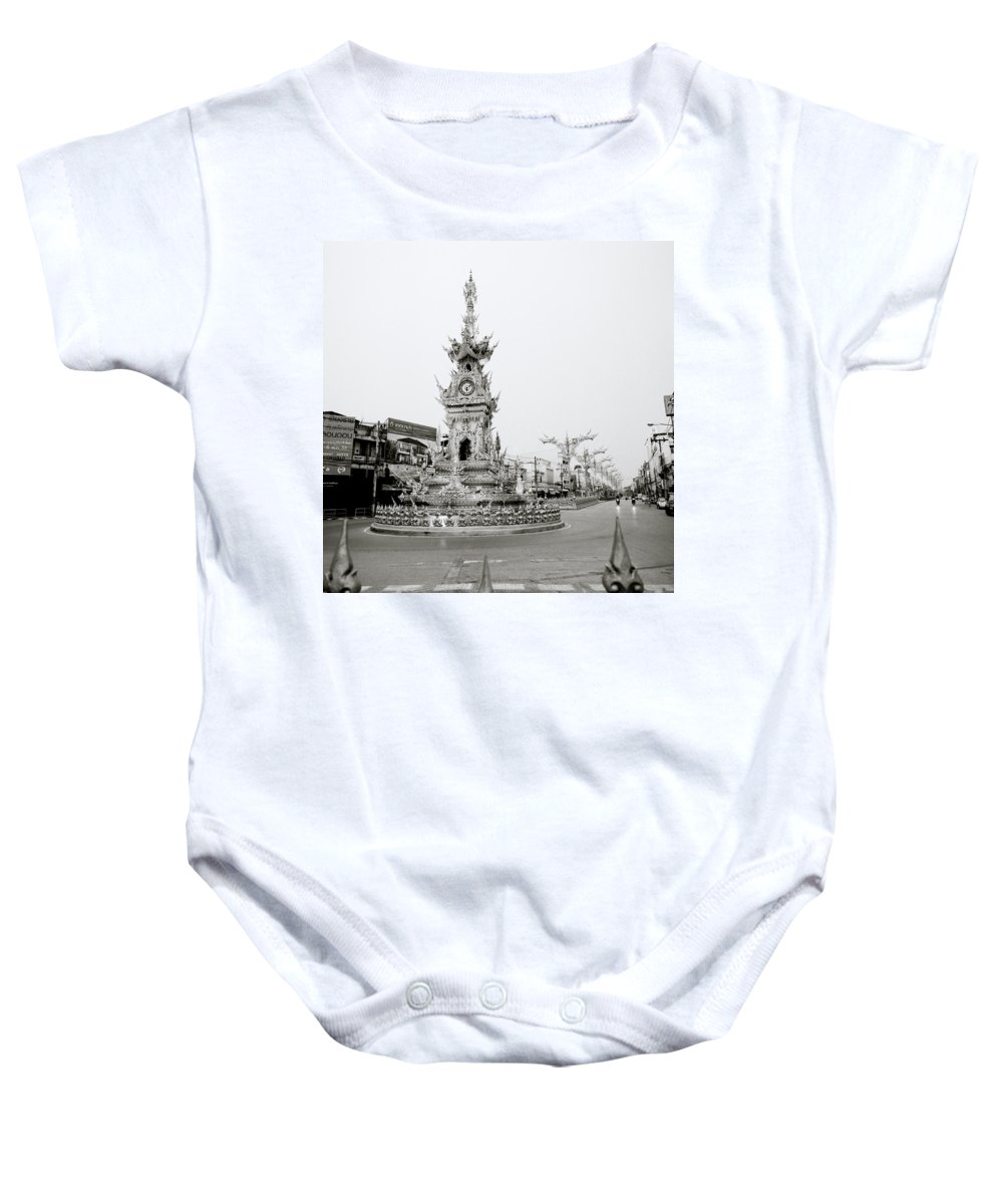 Clock Baby Onesie featuring the photograph Flamboyant Clock Tower by Shaun Higson