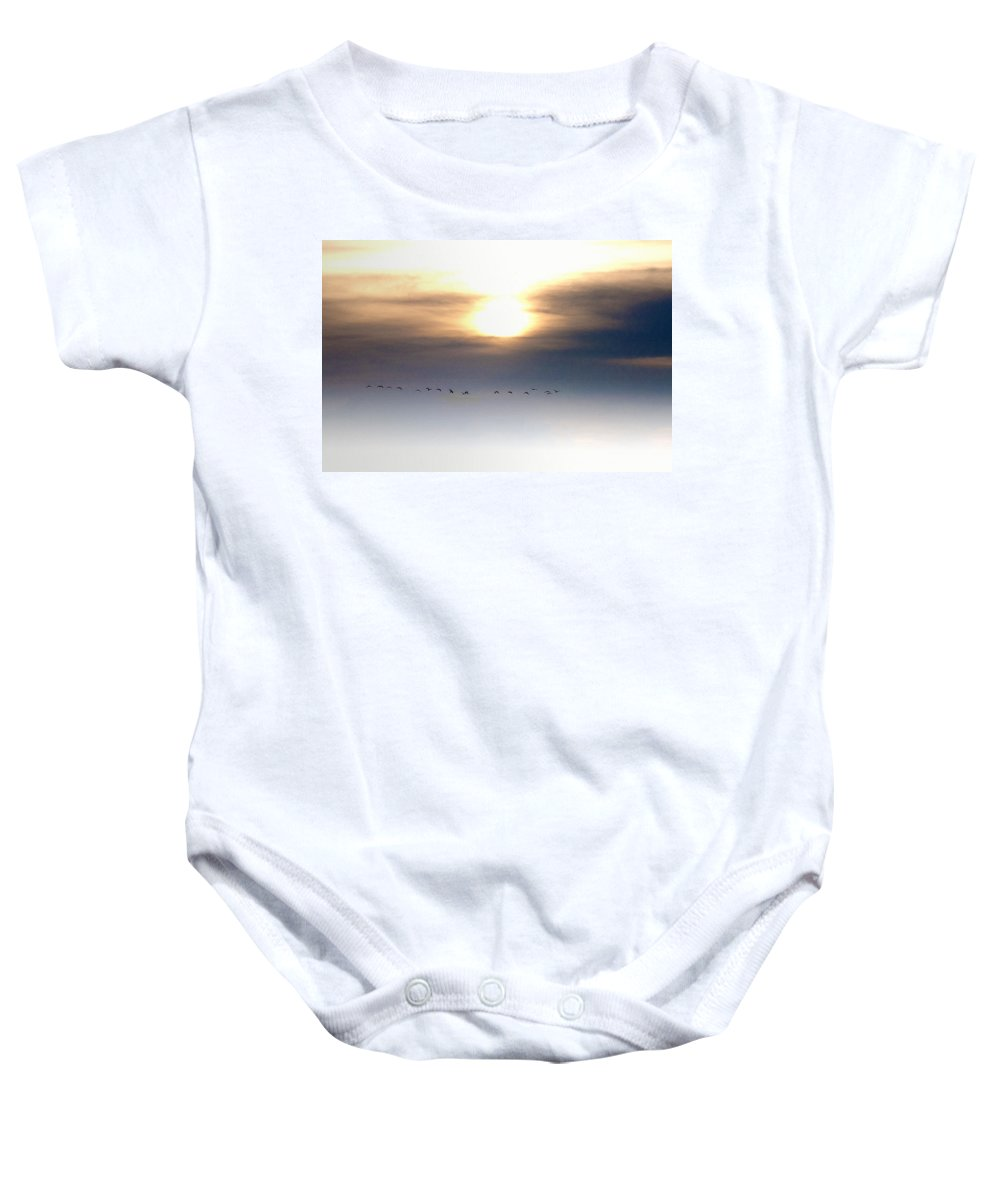 Geese Baby Onesie featuring the photograph Flying South For The Winter by Bill Cannon