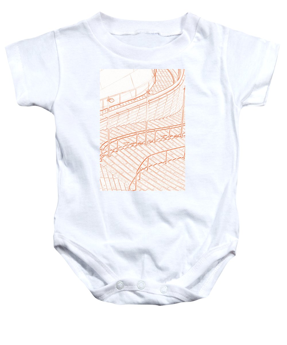Stairs Baby Onesie featuring the photograph Follow The Red Line by Ausra Huntington nee Paulauskaite