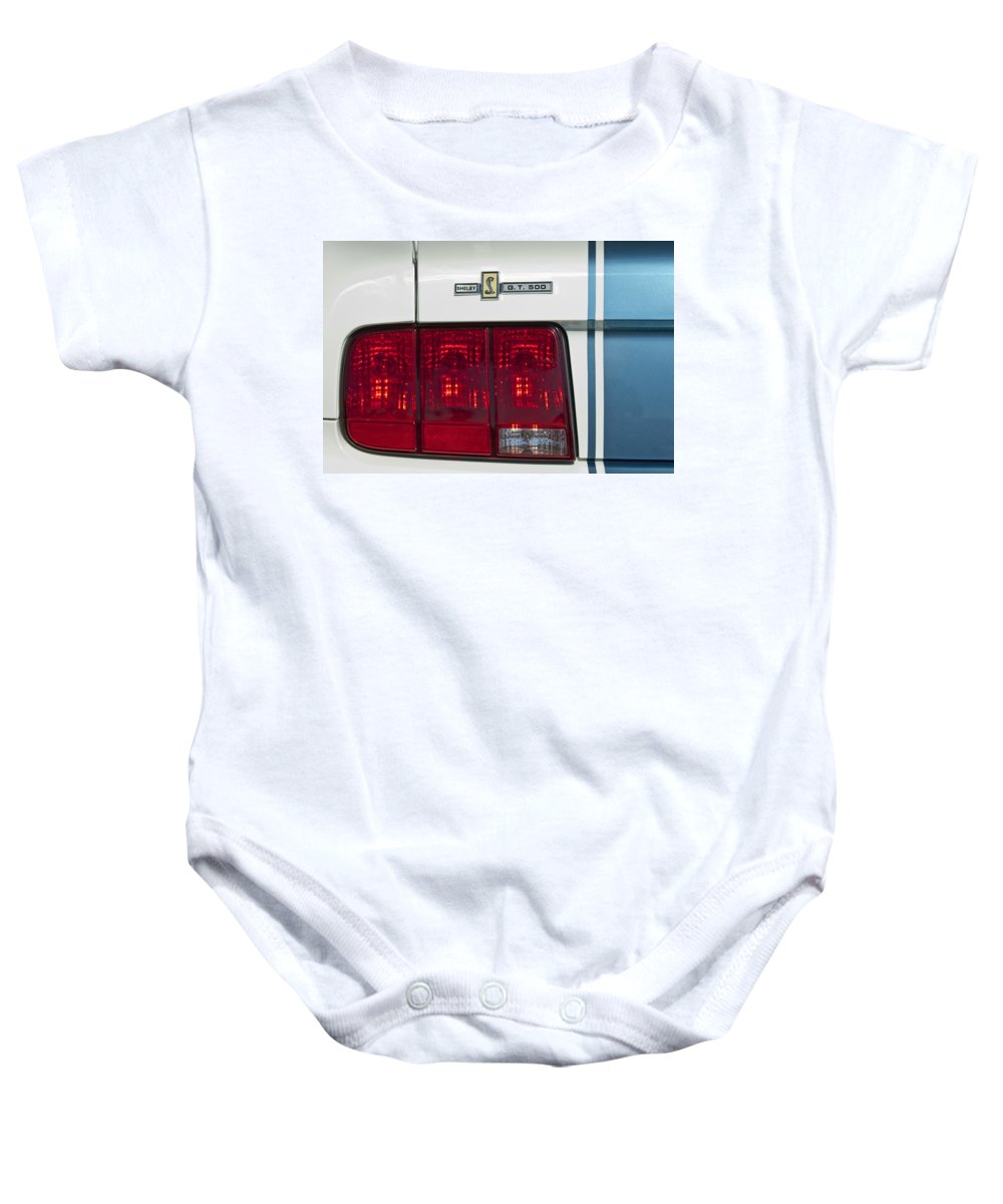 Ford Shelby Cobra Gt 500 Baby Onesie featuring the photograph Ford Shelby Cobra Gt 500 Taillight by Jill Reger