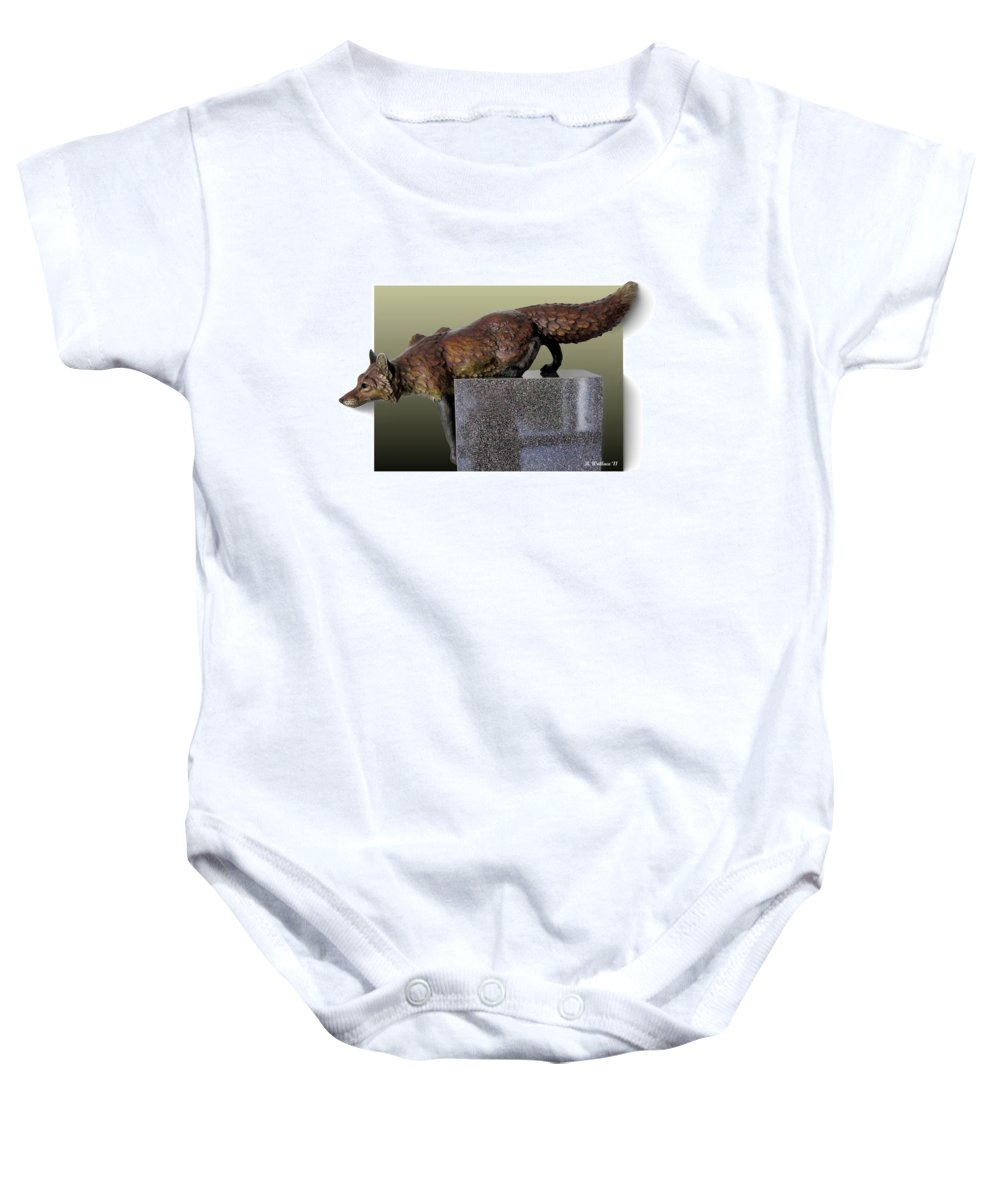 2d Baby Onesie featuring the photograph Fox On A Pedestal by Brian Wallace