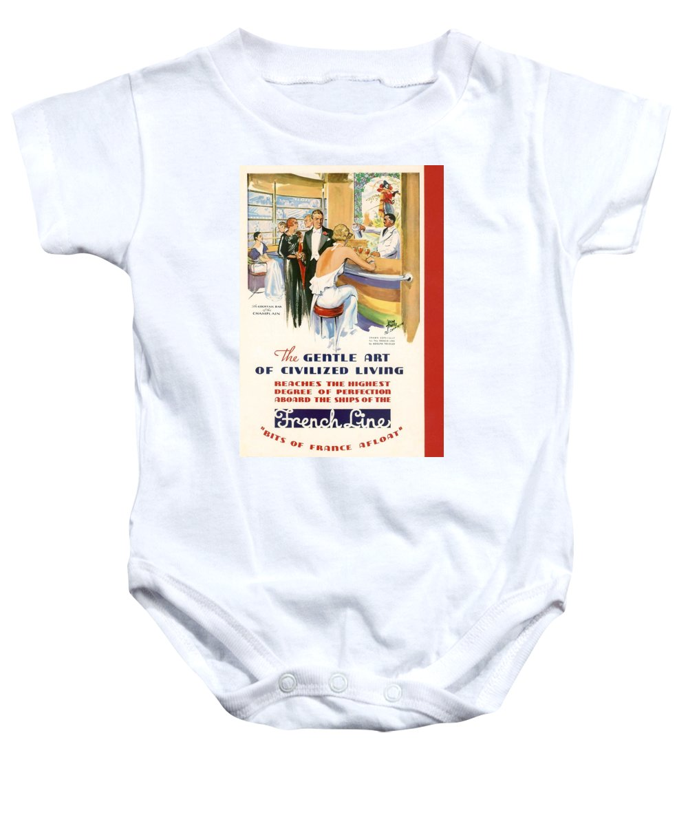 Cruise Baby Onesie featuring the digital art French Line by Georgia Fowler