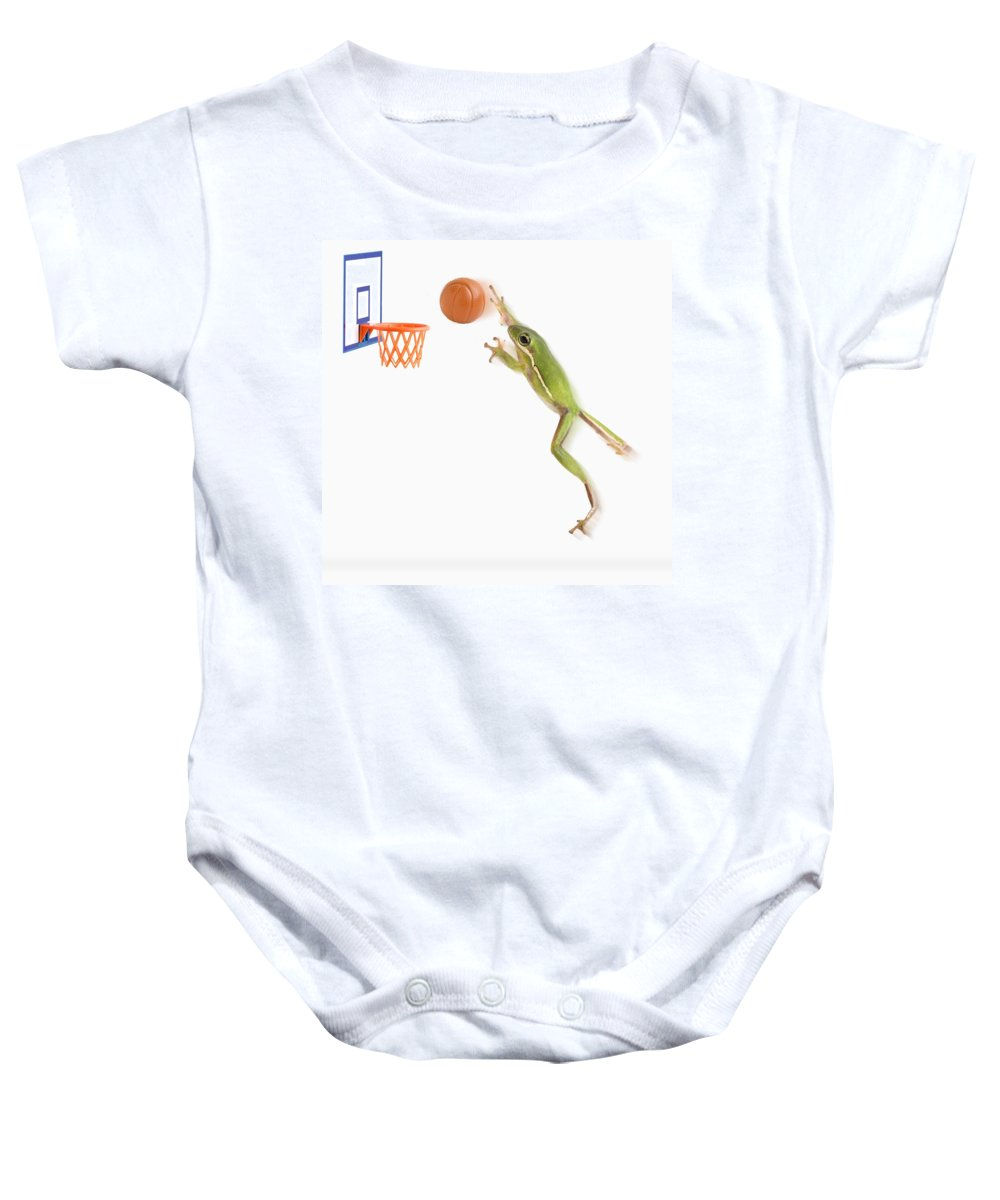 Animal Baby Onesie featuring the photograph Frog Playing Basketball by Corey Hochachka