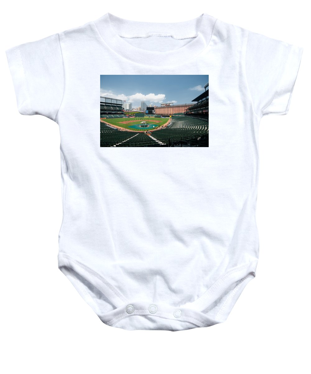 baltimore Orioles Baby Onesie featuring the From The Press Box by Paul Mangold