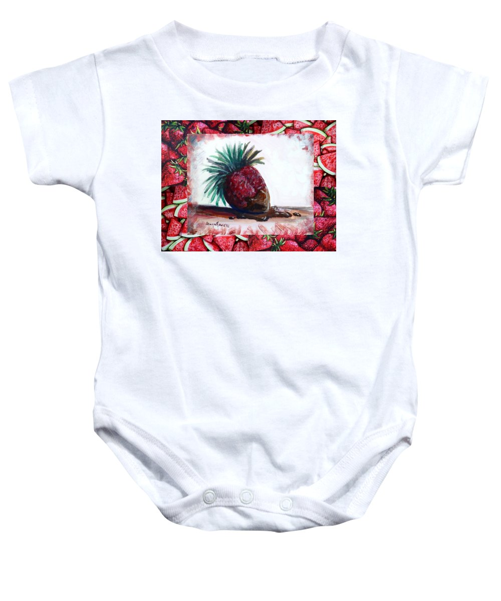 Strawberry Baby Onesie featuring the painting Fruit Fusion by Shana Rowe Jackson