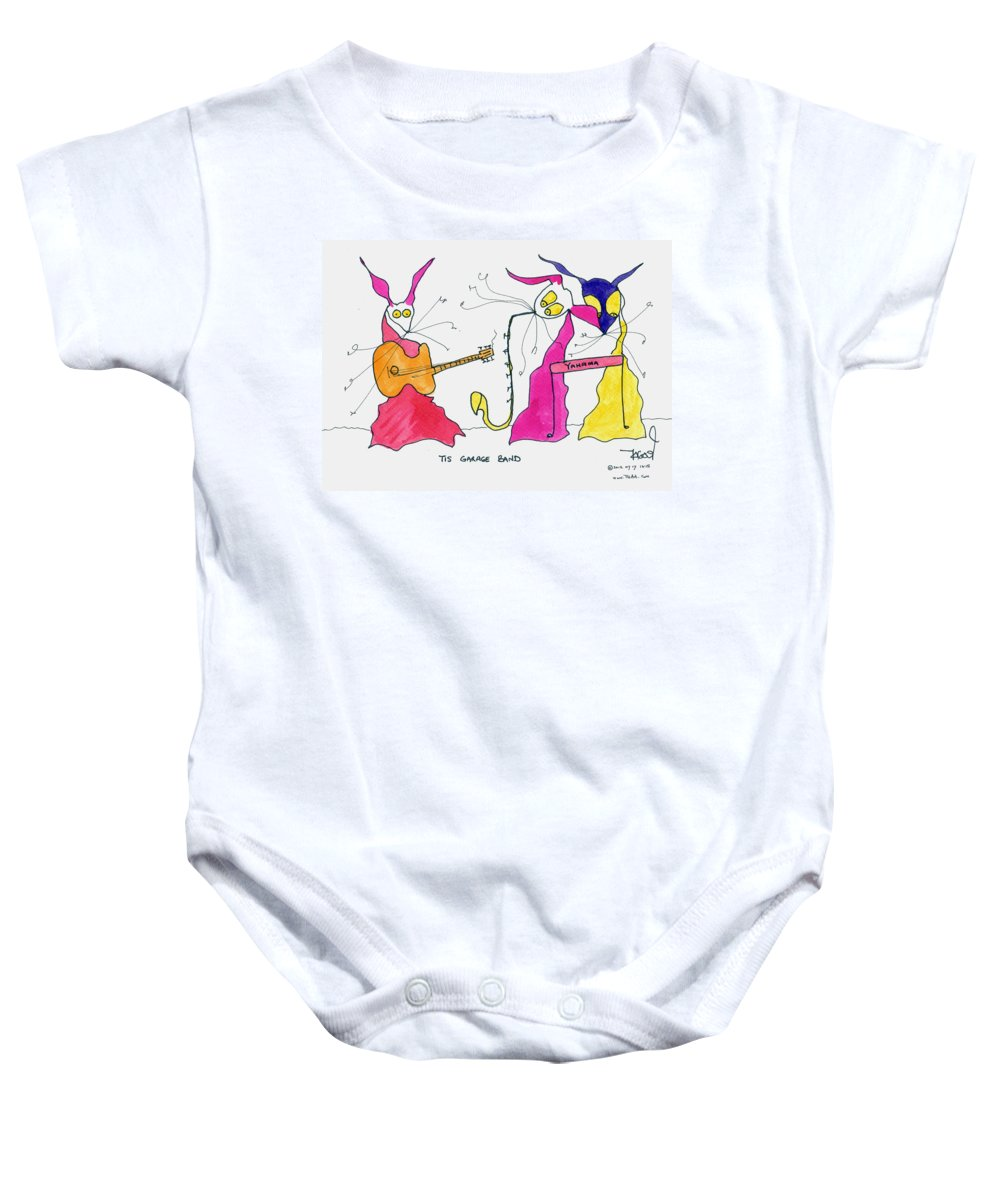 Band Baby Onesie featuring the painting Garage Band by Tis Art