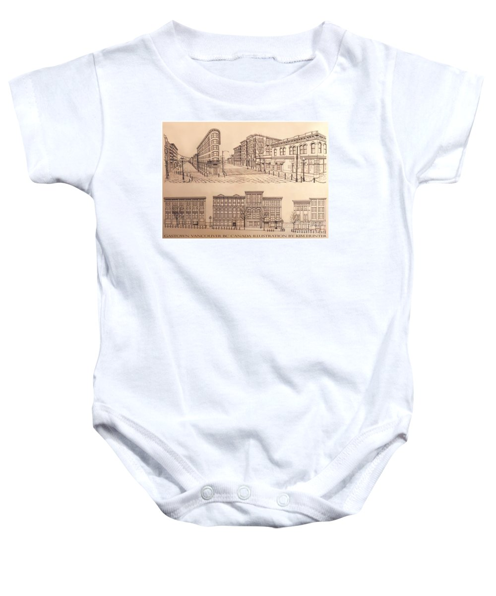 Cityscape Baby Onesie featuring the drawing Gastown Vancouver Canada Prints by Kim Hunter