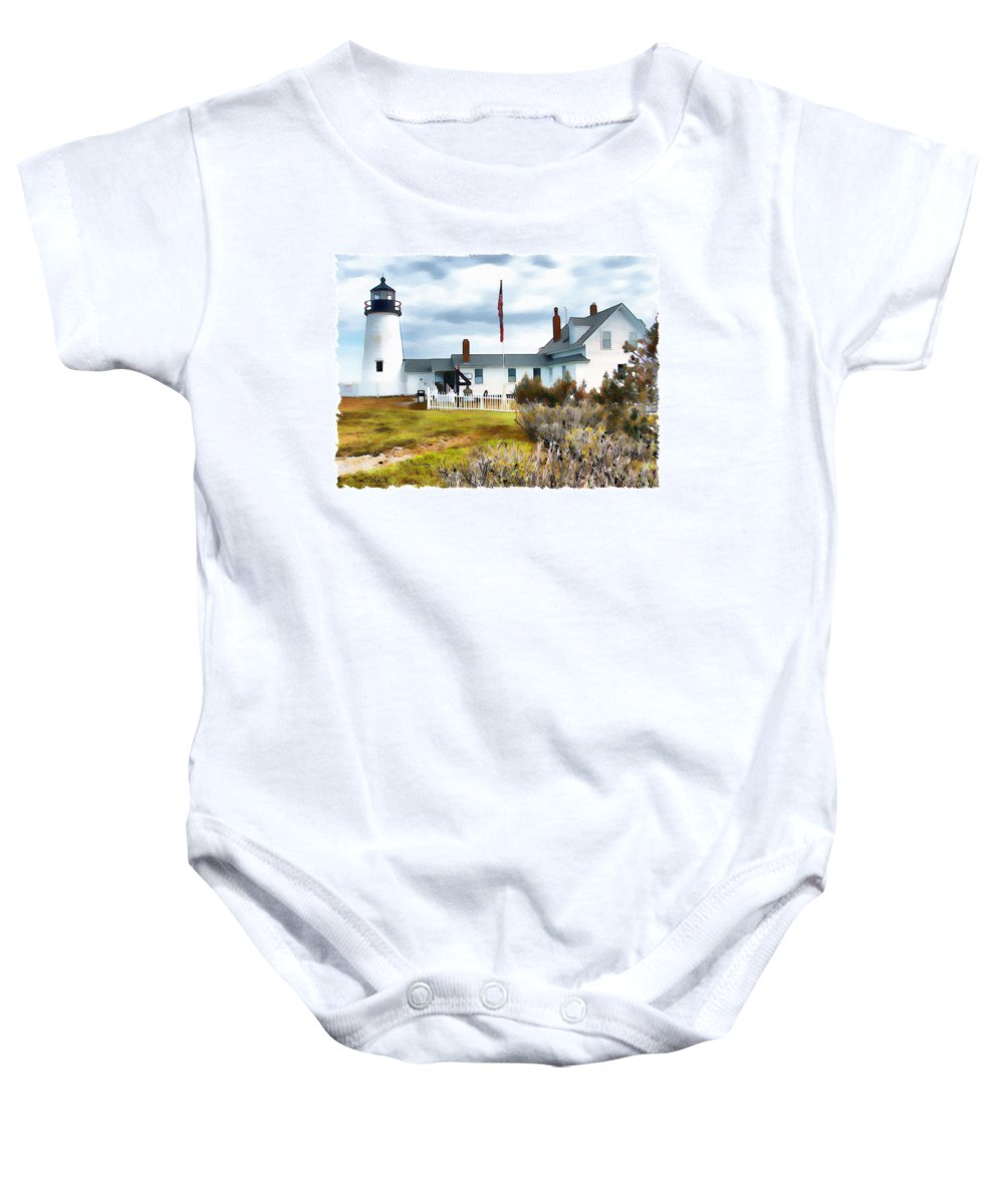 Light House Baby Onesie featuring the digital art Gate Keeper's House by Tom Schmidt