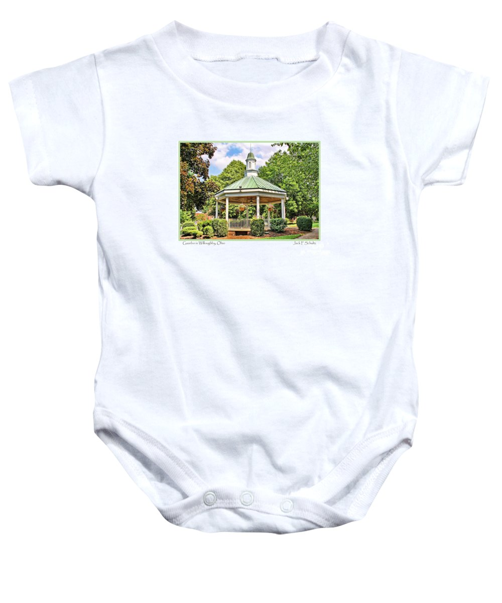 Gazebo Baby Onesie featuring the photograph Gazebo In Willoughby Ohio by Jack Schultz