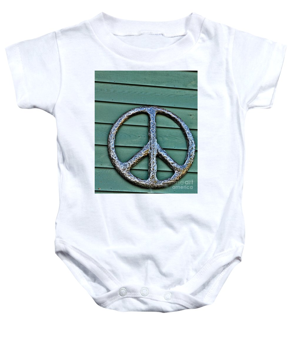 Peace Sign Photographs Baby Onesie featuring the photograph Give Peace A Chance by Catherine Conroy