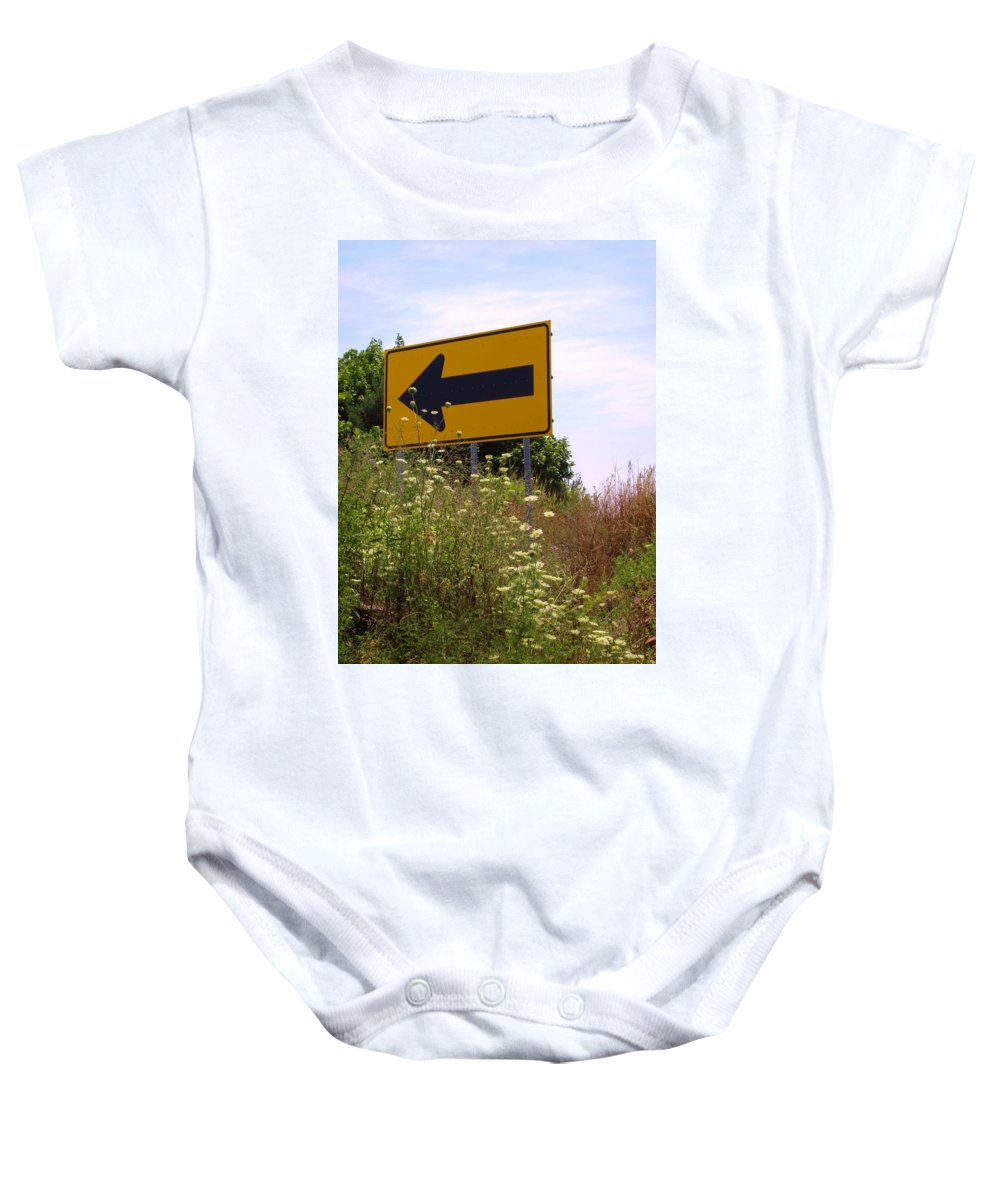 Road Sign Baby Onesie featuring the photograph Go Left by Michele Nelson