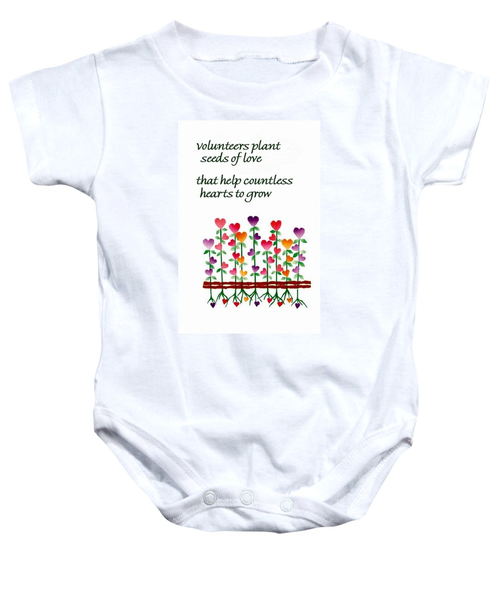 Growing Baby Onesie featuring the digital art Growing Hearts by Karon Melillo DeVega