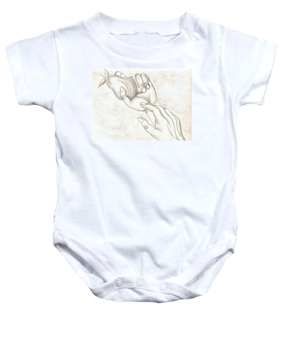 Hands Baby Onesie featuring the drawing Hands by Barbara Taboada