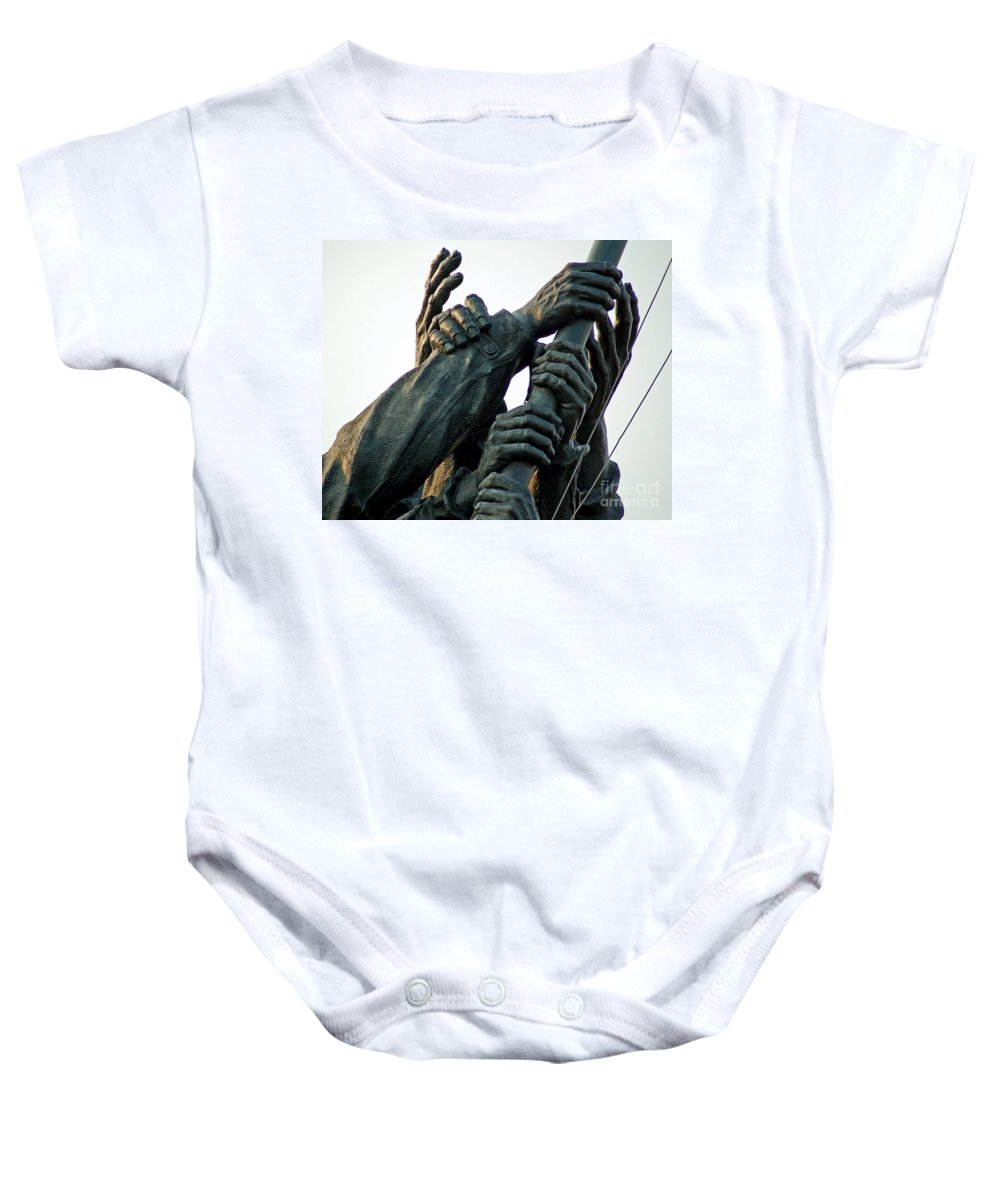 Iwo Baby Onesie featuring the photograph Hands Of Iwo Jima by Stephen Whalen