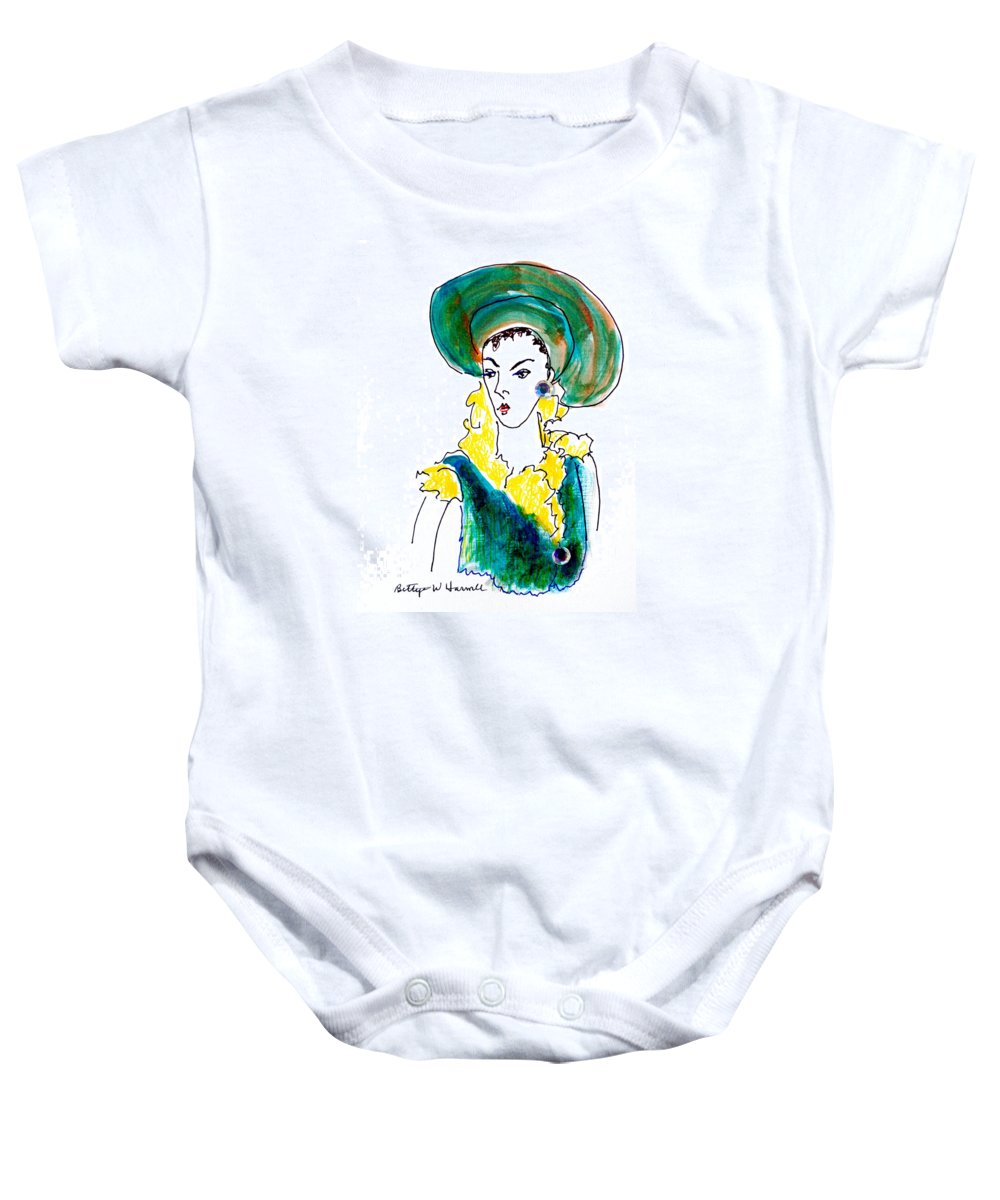 Hat Lady Baby Onesie featuring the drawing Hat Lady 16 by Bettye Harwell