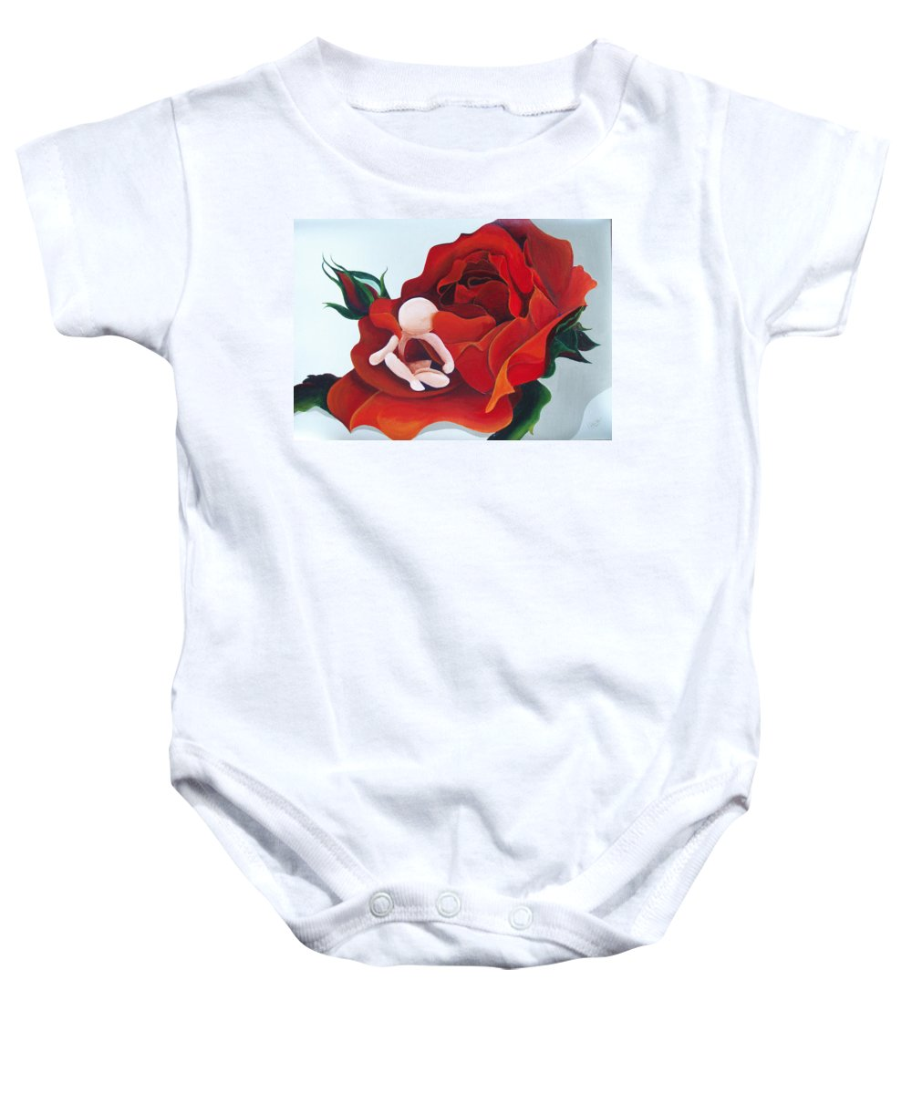 Healing Painting Baby Onesie featuring the painting Healing Painting Baby Sitting In A Rose by Catt Kyriacou