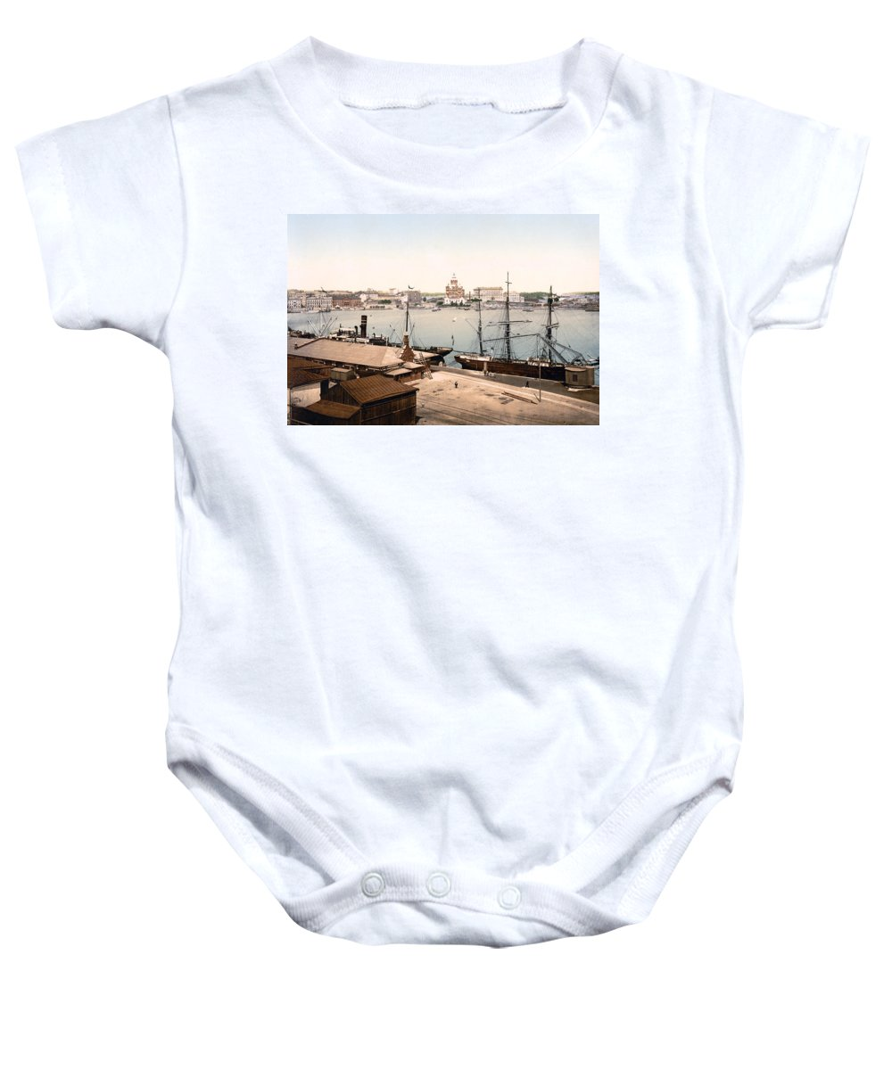 Helsinki Baby Onesie featuring the photograph Helsinki Finland - Russian Cathedral And Harbor by International Images
