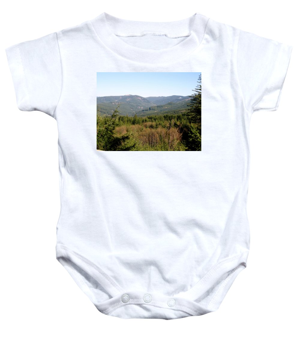 Hills Baby Onesie featuring the photograph Hills And Trees by Linda Hutchins