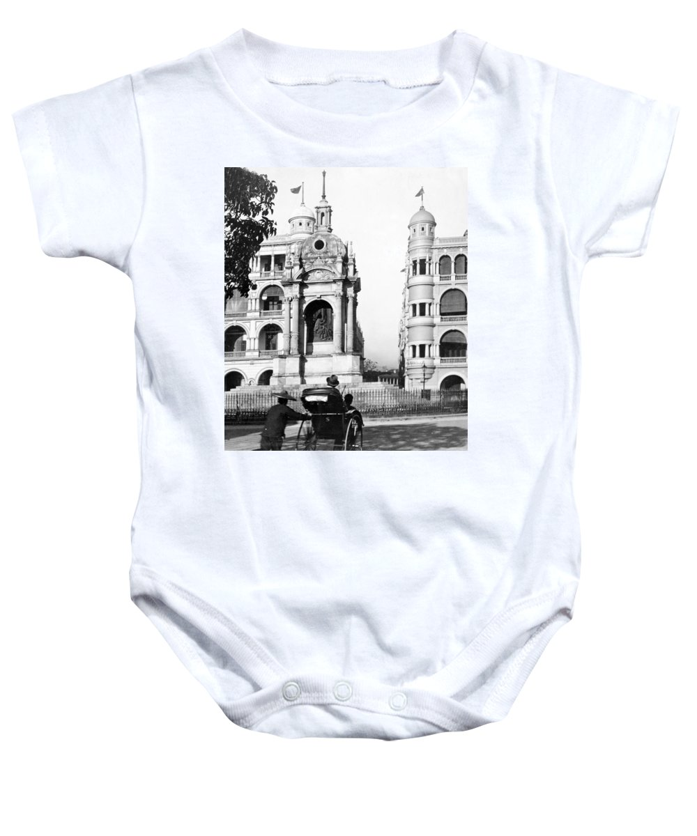 hong Kong Baby Onesie featuring the photograph Hong Kong - Monument To Queen Victoria - C 1906 by International Images