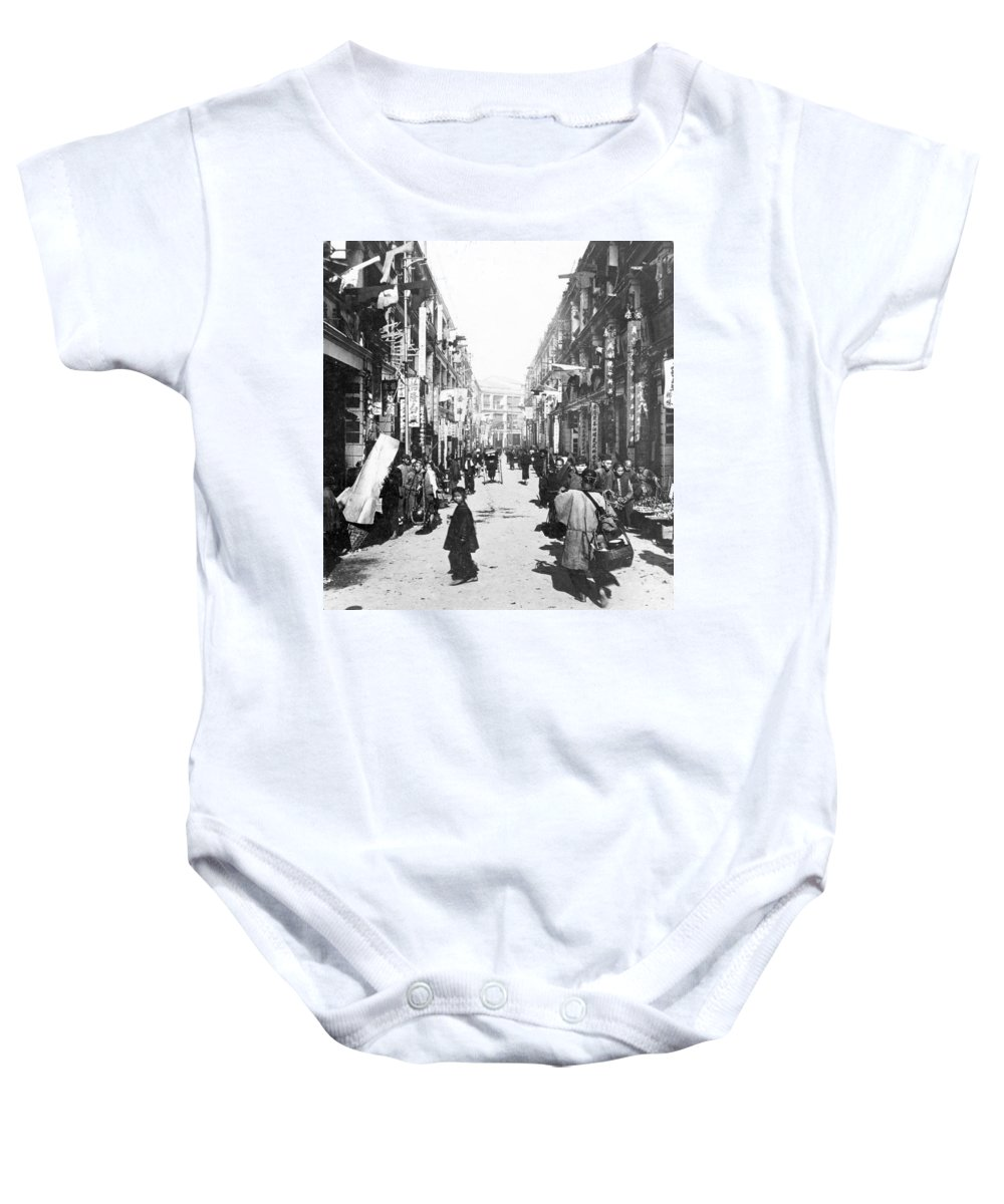 hong Kong Baby Onesie featuring the photograph Hong Kong Vintage Street Scene - C 1902 by International Images