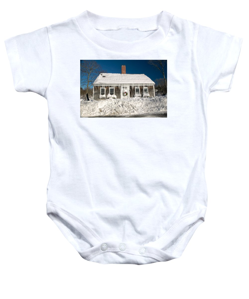 Winter Baby Onesie featuring the photograph Icicles Hang From The Roof Of This Home In Barnstable On Cape Co by Matt Suess