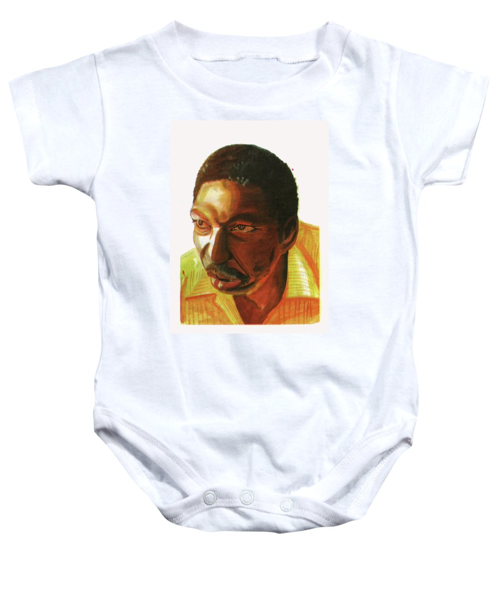 Portraits Baby Onesie featuring the painting Idrissa Ouedraogo by Emmanuel Baliyanga