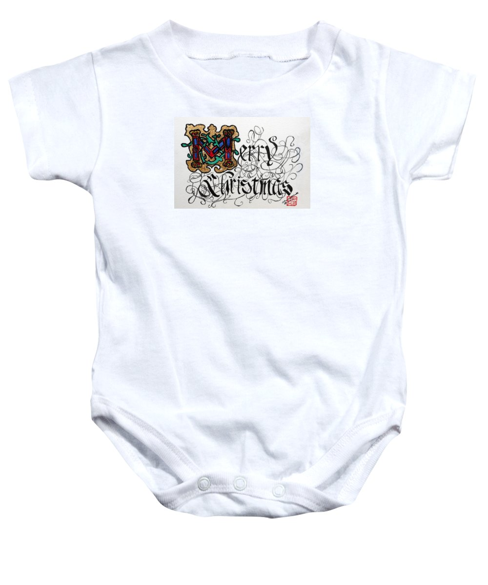 Merry Christmas Baby Onesie featuring the painting Illuminated Letter M by Arlene Wright-Correll