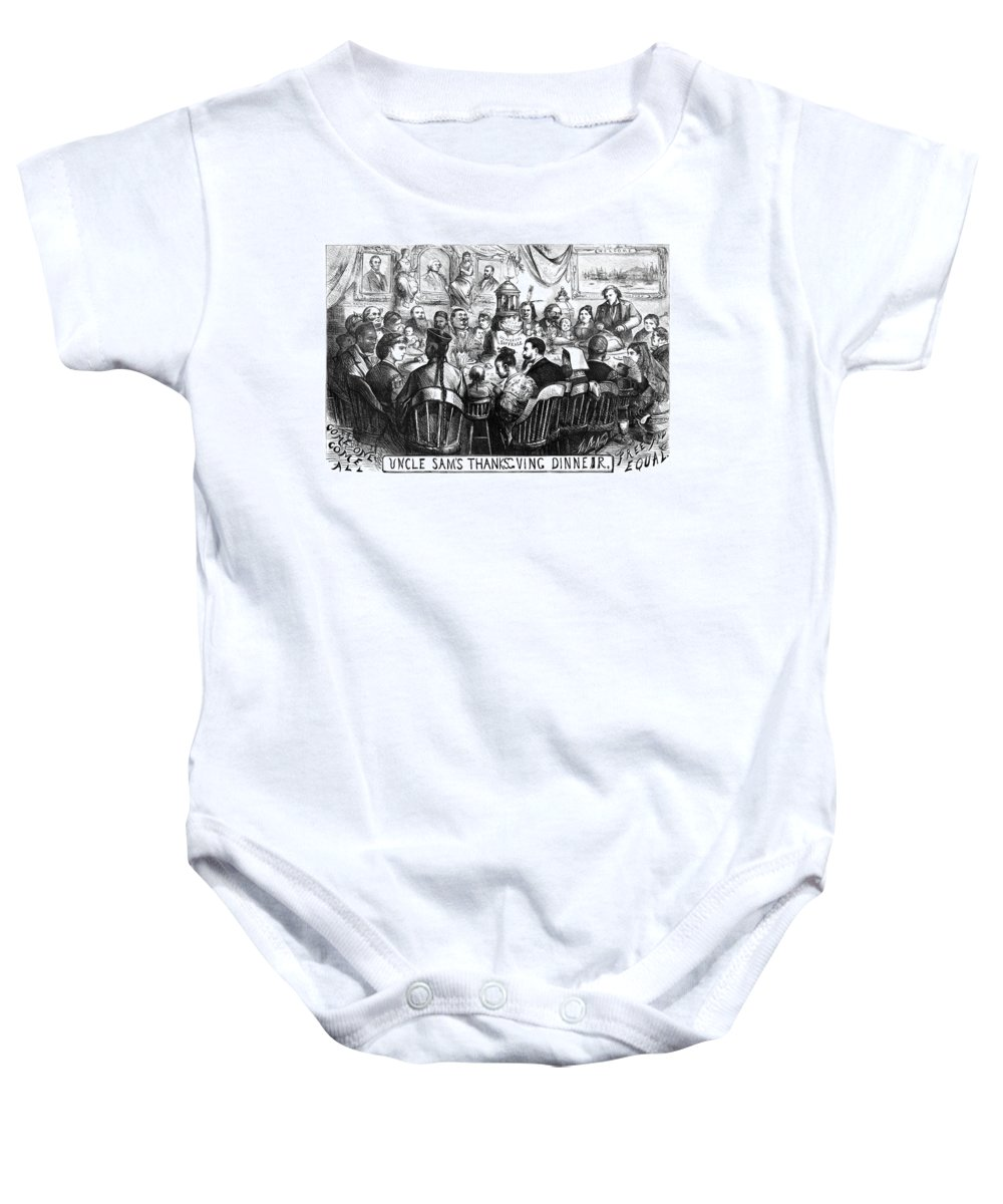 1869 Baby Onesie featuring the photograph Immigration Cartoon, 1869 by Granger