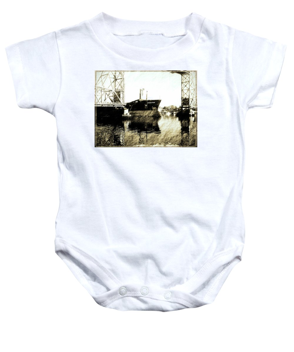Ship Baby Onesie featuring the photograph In Portsmouth Harbor by Marie Jamieson