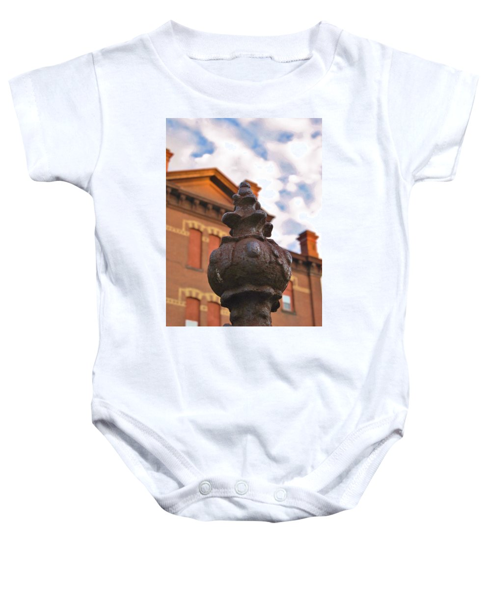 Old School House Baby Onesie featuring the photograph Iron No More by Michele Nelson
