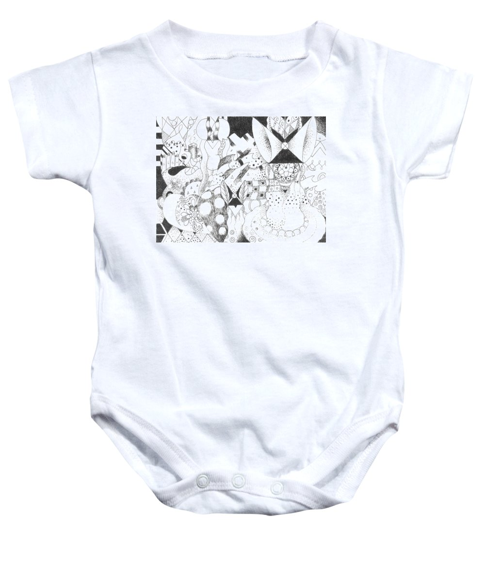 Human Nature Baby Onesie featuring the drawing It Is A Fine Line Indeed by Helena Tiainen